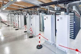 Batteries in the Bordesholm battery storage system.